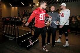 San Francisco 49ers Nick Bosa exits following a news conference at Levi's Stadium, Thursday, Jan. 23, 2020, in Santa Clara, Calif.