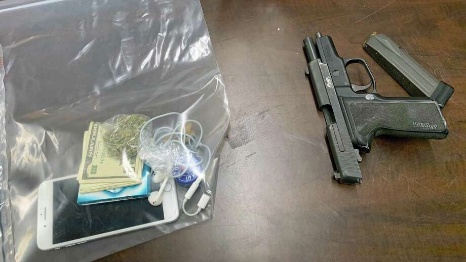 A photo of the items seized after a pursuit in Bridgeport, Conn., on Jan. 23, 2020. Photo: Contributed Photo