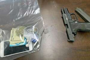 A photo of the items seized after a pursuit in Bridgeport, Conn., on Jan. 23, 2020.
