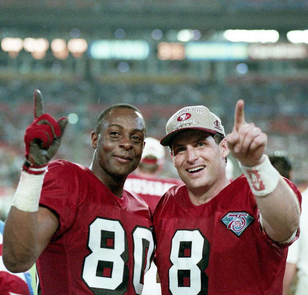 49ers beat the San Diego Chargers 49-26 to win Super Bowl XXIX, January 29, 1995 Jerry Rice and Steve Young