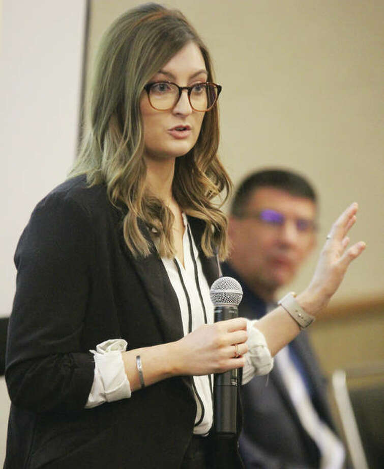 """Amber Kasting, an HR generalist with West Star Aviation, speaks about the value of apprenticeships during a """"Regional Apprenticeship Meeting"""" Thursday at Gateway Convention Center in Collinsville."""