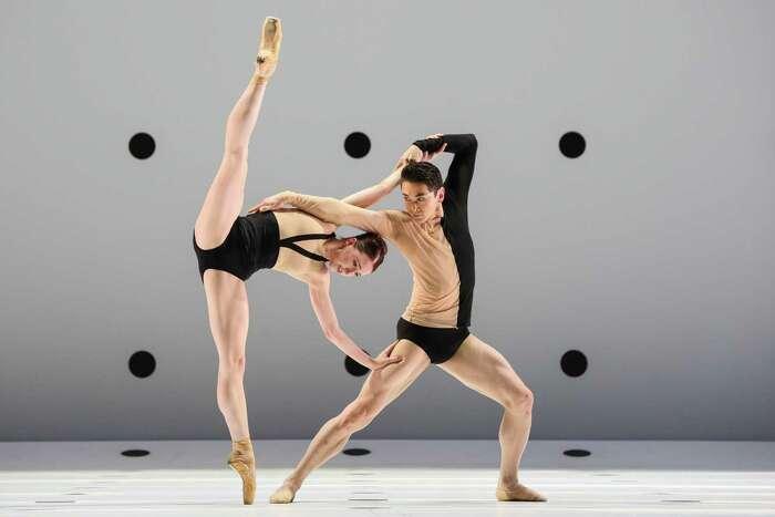"Houston Ballet principals Jessica Collado and Charles-Louis Yoshiyama in Wayne McGregor's stunning ""Dyad 1929."""