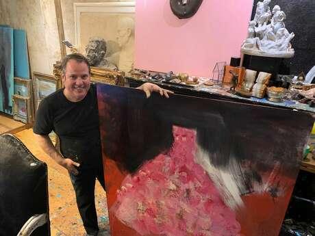Franco Mondini-Ruiz works — and lives — at his studio at 1415 South Presa St. Photo: Mark Dunphy