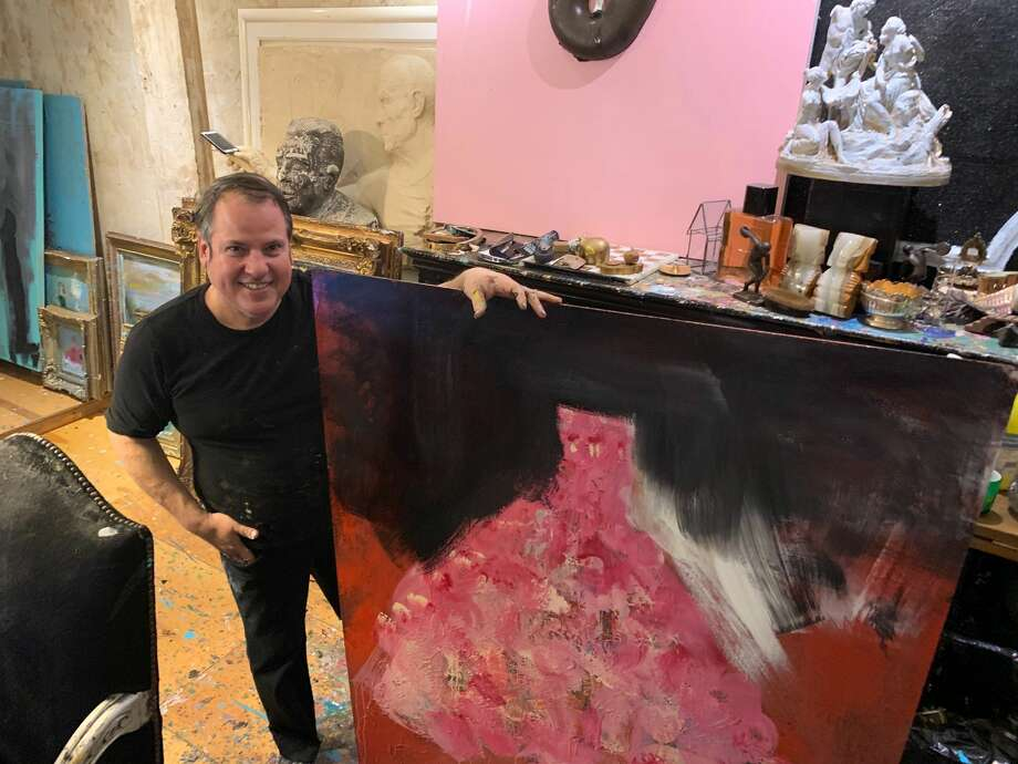 Franco Mondini-Ruiz works — and lives — at his studio at 1415 South Presa St. Photo: Mark Dunphy