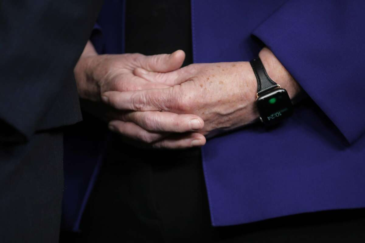 WASHINGTON, DC - JANUARY 15: Rep. Zoe Lofgren (D-CA) clasps her hands at a news conference where it was announced that she and six others will be managers of the Senate impeachment trial of President Donald Trump at the U.S. Capitol January 15, 2020 in Washington, DC. The House of Representatives is scheduled to vote to send the articles of impeachment to the Senate later in the day and Senate Majority Leader Mitch McConnell (R-KY) said the trial will begin next Tuesday. (Photo by Chip Somodevilla/Getty Images)