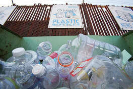 Plastic bottles in a recycling bin, Santa Monica, Los Angeles, California, USA (Photo by: Citizen of the Planet/Education Images/Universal Images Group via Getty Images)
