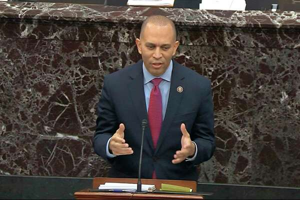 In this image from video, House impeachment manager Rep. Hakeem Jeffries, D-N.Y., speaks during the impeachment trial against President Donald Trump in the Senate at the U.S. Capitol in Washington, Thursday, Jan. 23, 2020. (Senate Television via AP)
