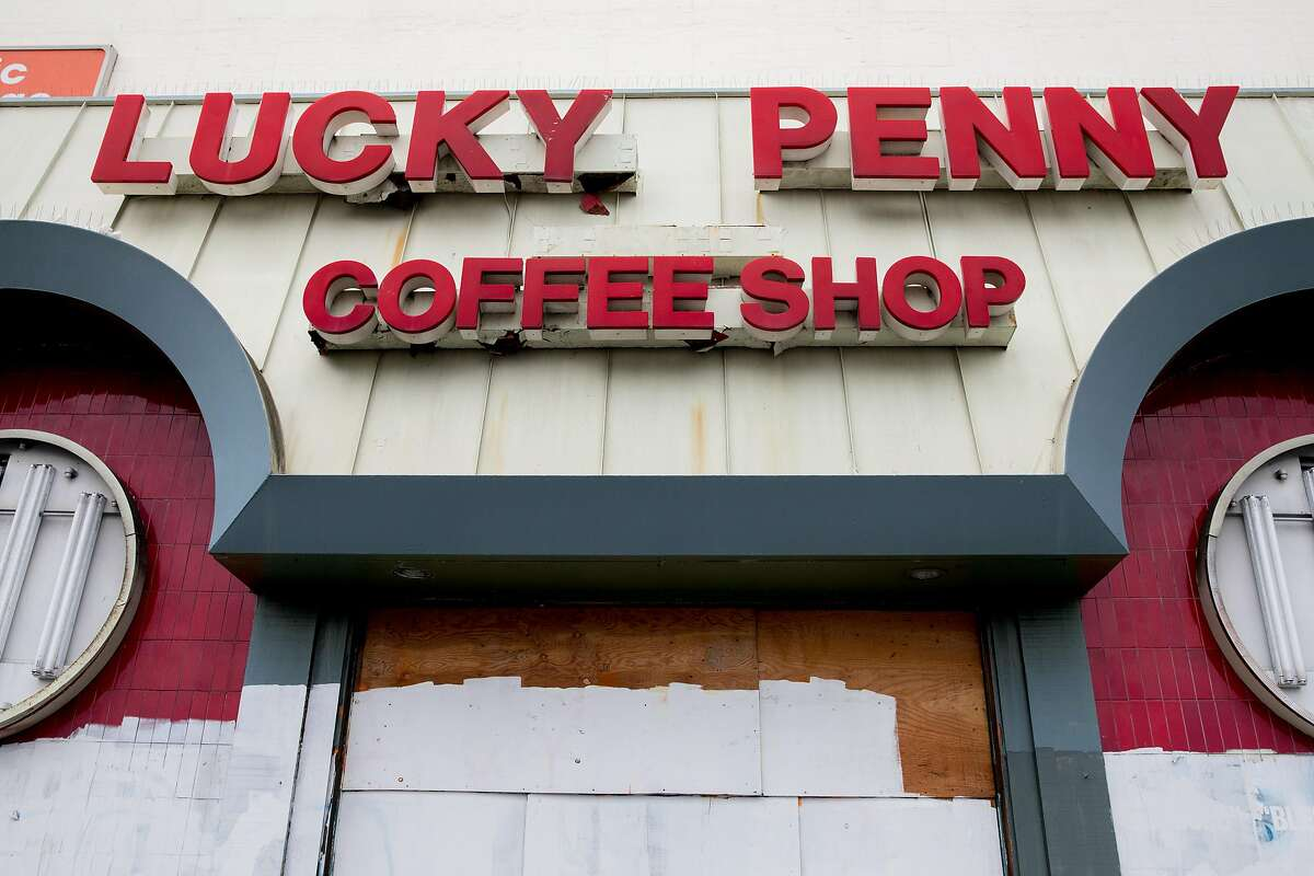The former Lucky Penny restaurant is seen boarded up in San Francisco, Calif. Thursday, Jan. 23, 2020. San Francisco's Planning Commission will decide Thursday, January 23 to build 101 units of housing at the former site of the restaurant near Geary Boulevard and Masonic Avenue.