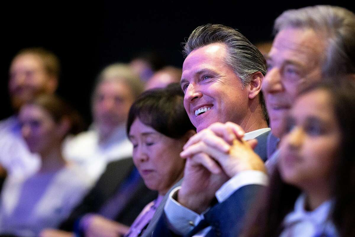 California Governor Gavin Newsom during �California Votes for Women: A Golden State Suffrage Celebration,� an event at the California Museum on Saturday, Nov. 9, 2019, in Sacramento, Calif. First partner Jennifer Siebel Newsom moderated a talk with Speaker of the House Nancy Pelosi (D-Calif.)
