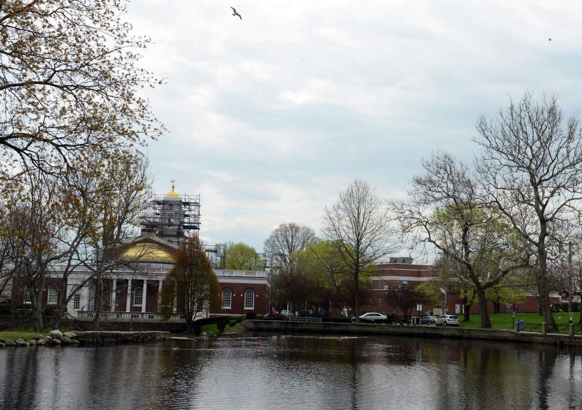 The duck pond behind Milford City Hall in Milford, Conn.