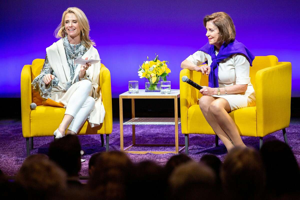 From left: First partner Jennifer Siebel Newsom moderating a talk with Speaker of the House Nancy Pelosi (D-Calif.) during �California Votes for Women: A Golden State Suffrage Celebration,� an event at the California Museum on Saturday, Nov. 9, 2019, in Sacramento, Calif.