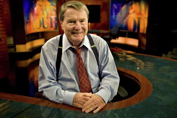PBS news anchor Jim Lehrer poses for a portrait in his studio in Arlington, Virginia, in 2011.