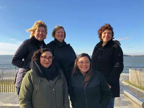 Holocaust Museum Houston educators Kelly Zuniga (top from left), Carol Manley, Wendy Warren; Michelle Tovar (bottom from left) and Laurie Garcia pose during their trip to the Museum of Jewish Heritage in New York City in January 2020.