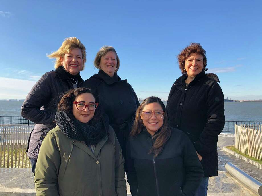 Holocaust Museum Houston educators Kelly Zuniga (top from left), Carol Manley, Wendy Warren; Michelle Tovar (bottom from left) and Laurie Garcia pose during their trip to the Museum of Jewish Heritage in New York City in January 2020. Photo: Courtesy Photo