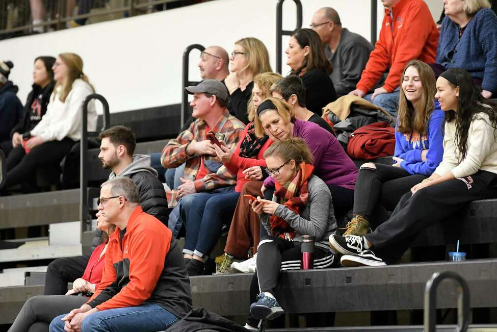 Fans watch Rensselaer Polytechnic Institute play against Bard during a NCAA basketball game Tuesday, Jan. 21, 2020, in Troy, N.Y.