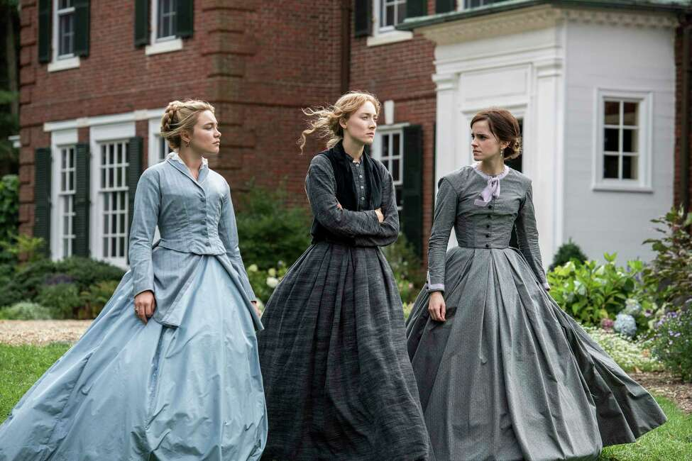 This image released by Sony Pictures shows, from left, Florence Pugh, Saoirse Ronan and Emma Watson in a scene from