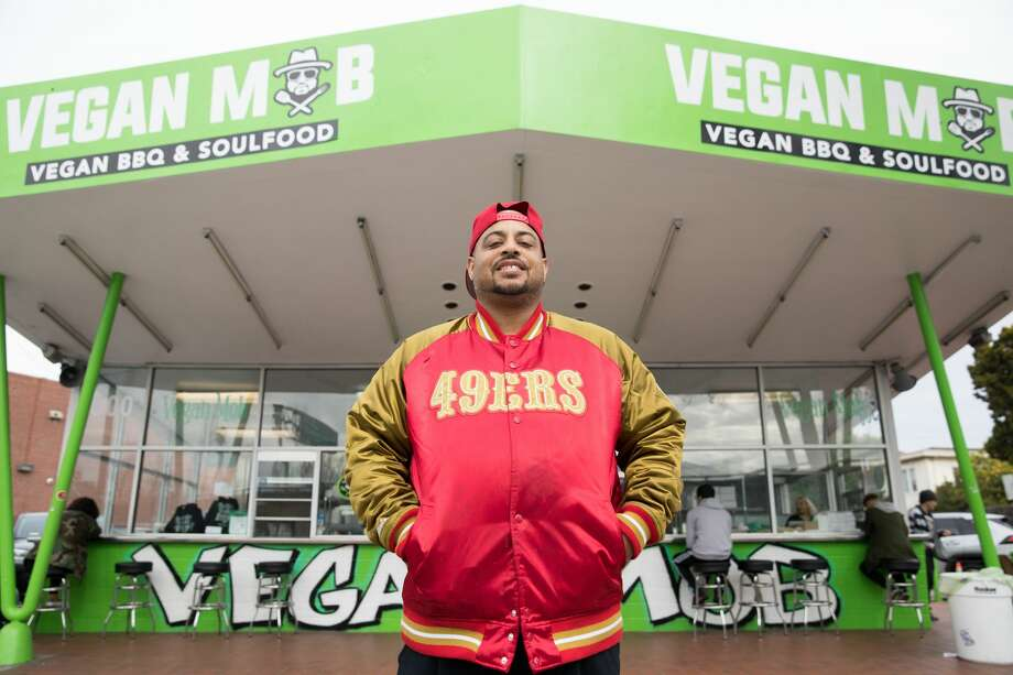 Toriano Gordon is the owner of Vegan Mob, a Vegan BBQ and soul food take out restaurant in Oakland. Photo: Douglas Zimmerman/SFGate