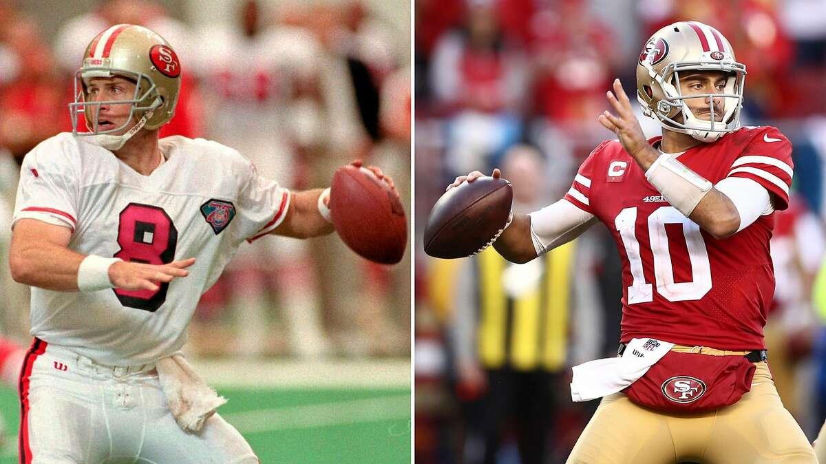 A composite image of San Francisco 49ers quarterback Steve Young (left) at the Georgia Dome Sunday, Oct. 16, 1994 and San Francisco 49ers quarterback Jimmy Garoppolo at Levi's Stadium in Santa Clara, Calif., on Saturday, Jan. 11, 2020.
