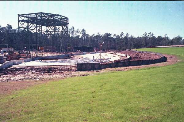 Construction work at the Cynthia Woods Mitchell Pavilion, Jan. 29, 1990.