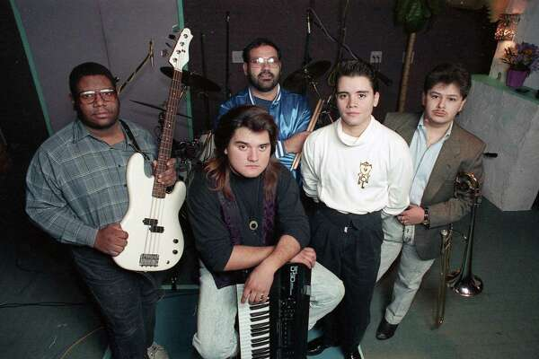 Members of El Grupo Choice are, from left, Bruce Jeffero, Albert Gonzales, Robert Ruiz, Richard Gonzales and Sal Gonzales, Jan. 13, 1990.