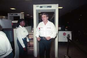 Oilers Coach Jerry Glanville, his tenure a hot topic since the team's poor finish, heads for a flight Wednesday, Jan. 3, 1990, at Houston Intercontinental Airport after meeting with Oilers brass. His destination: a job interview with the Atlanta Falcons.