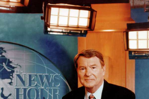 """This undated image released by PBS shows Jim Lehrer of """"The NewsHour with Jim Lehrer."""" PBS announced that Lehrer died Thursday, Jan. 23, 2020, at home. He was 85. (PBS via AP)"""