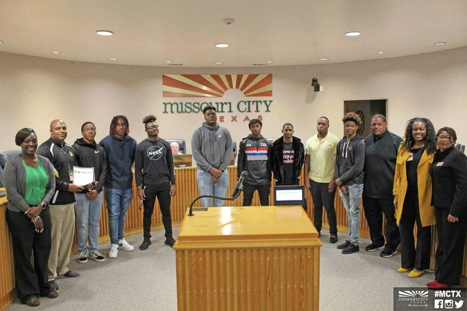 The Thurgood Marshall High School Buffalo varsity football team was recently honored by Missouri City Mayor Pro Tem Christ Preston and members of the city council for participating in the Texas 2019 Class 5A Division II State Finals. Photo: Courtesy City Of Missouri City