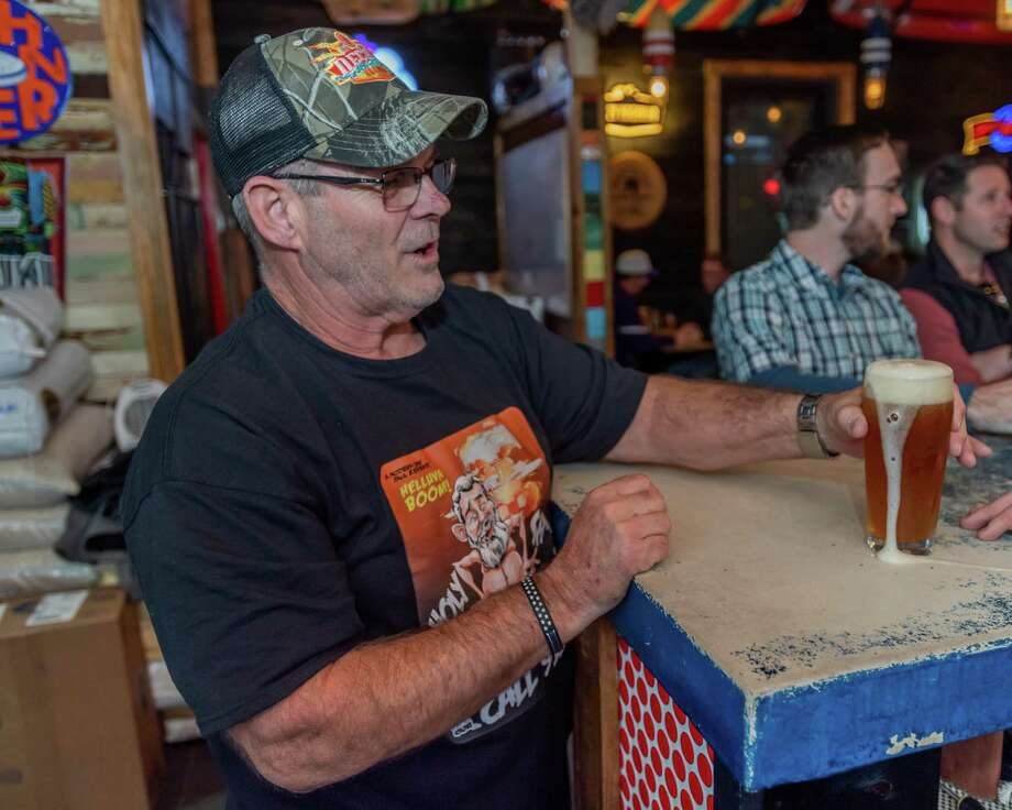 Jerry Plaia gets ready to taste the new beer created by the Neches Brewing Company in his honor for the viral video of him from the night of the TPC Group explosion that made him infamous on his 62nd birthday, January 23, 2020. Fran Ruchalski/The Enterprise Photo: Fran Ruchalski/The Enterprise / 2019 The Beaumont Enterprise