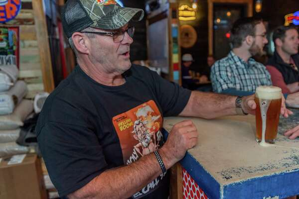 Jerry Plaia gets ready to taste the new beer created by the Neches Brewing Company in his honor for the viral video of him from the night of the TPC Group explosion that made him infamous on his 62nd birthday, January 23, 2020. Fran Ruchalski/The Enterprise