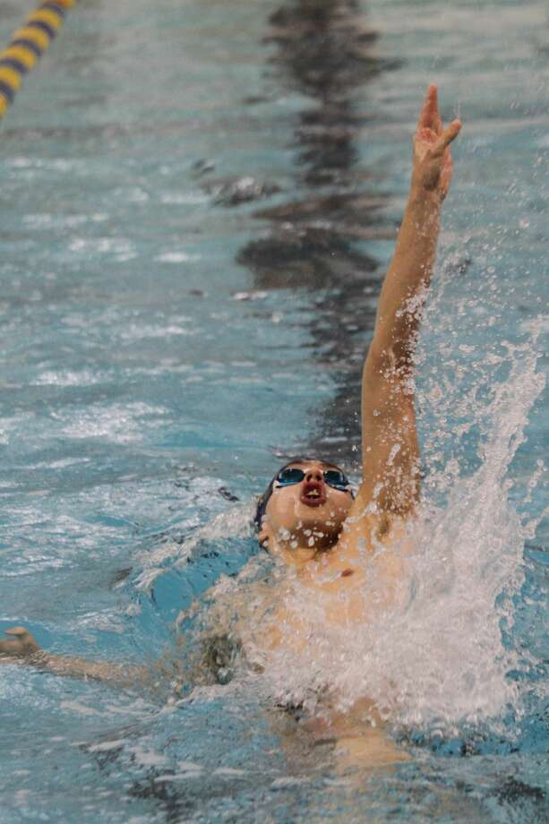 The Manisteeswimming team fell to Ludington on Thursday, Jan. 23, 2020, but met a number of state qualifying times. Photo: Dylan Savela/News Advocate