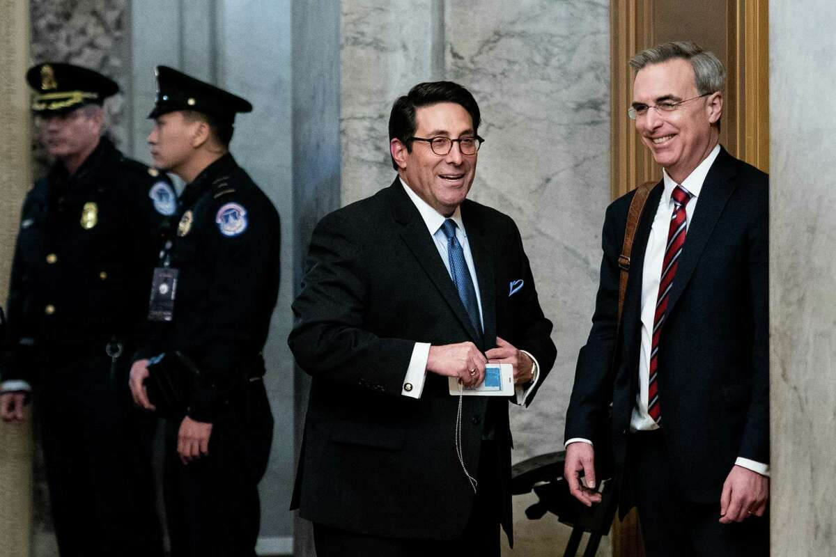 Jay Sekulow, left, and Pat Cipollone, members of the defense team for President Donald Trump, arrive at the Capitol for start of the day's Senate impeachment trial of President Donald Trump in Washington on Wednesday, Jan. 22, 2020. (Erin Schaff/The New York Times)