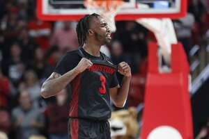 Houston Cougars guard DeJon Jarreau (3) reacts in the final seconds as UH went up over UConn during the second half of an NCAA basketball game at the Fertitta in Houston, Thursday, Jan. 23, 2020.