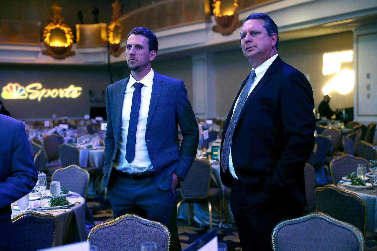 A's Stephen Piscotty and father/coach Michael Piscotty at Game Changers banquet at Fairmont Hotel in San Francisco, Calif., on Thursday, January 23, 2020.
