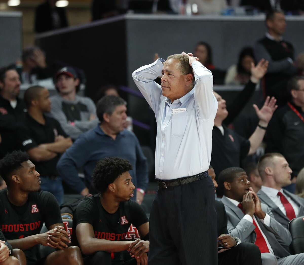 Houston Cougars head coach Kelvin Sampson reacts after a foul was called during the second half of an NCAA basketball game at the Fertitta in Houston, Thursday, Jan. 23, 2020.