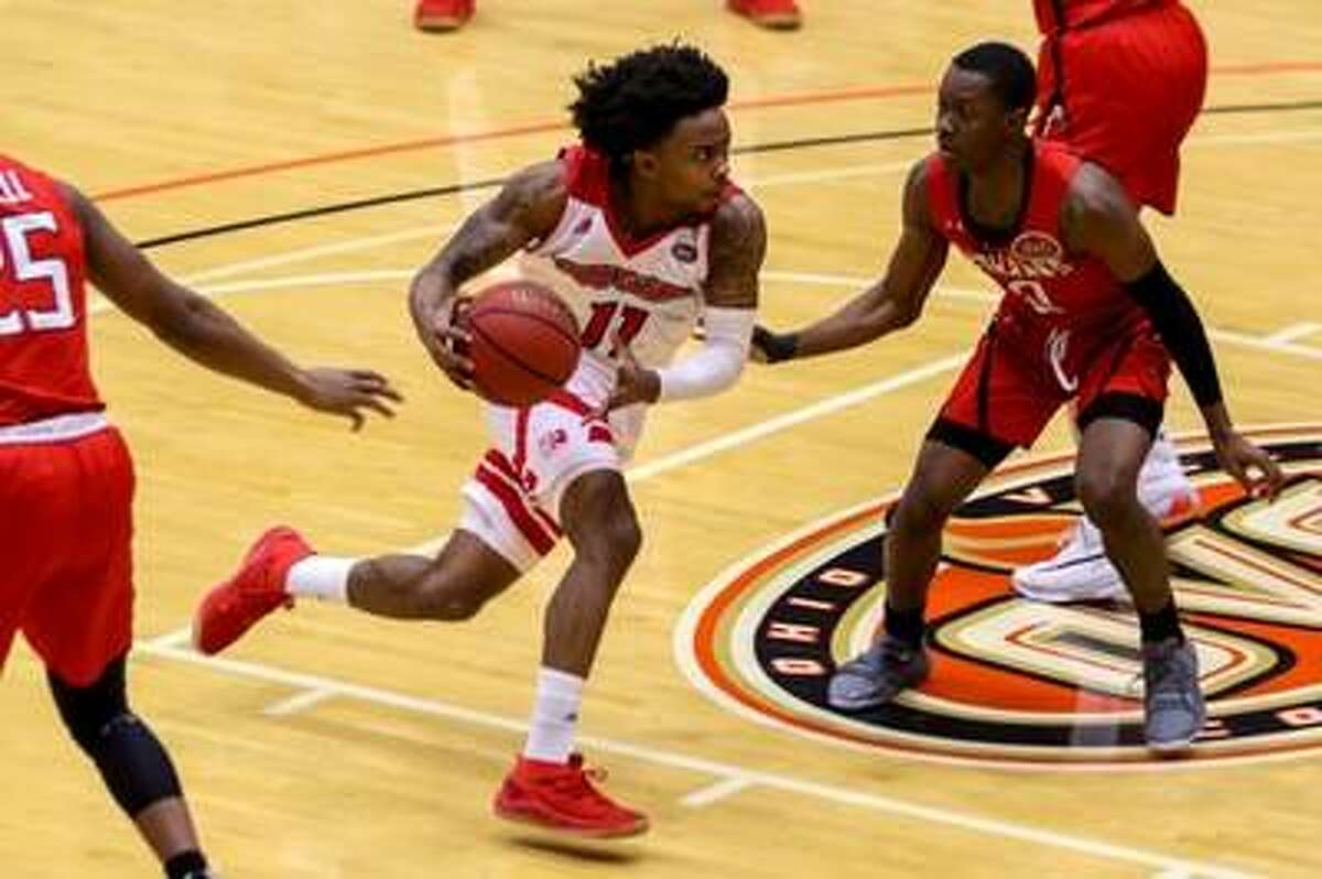 SIUE's Tyresse Williford drives to the basket during Thursday's game against Southeast Missouri in the First Community Arena in the Vadalabene Center.