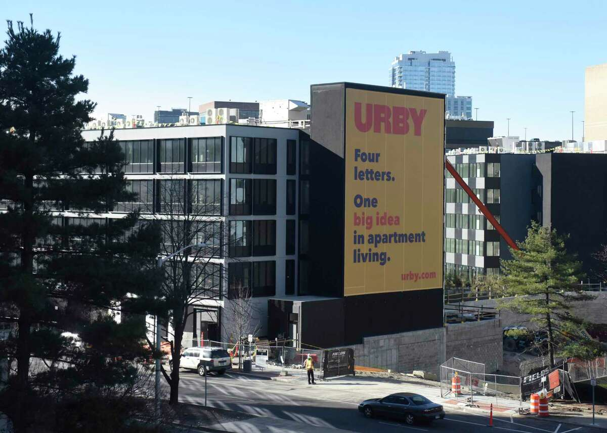The new URBY apartments undergo construction on Greyrock Place in Stamford, Conn. on Thursday, Jan. 9, 2020.