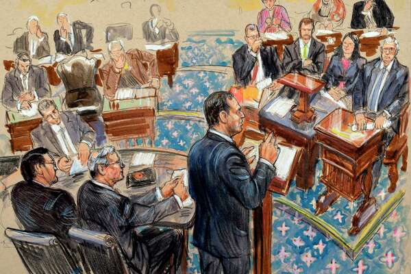 This artist sketch depicts impeachment manager Rep. Adam Schiff, D-Calif., presenting an argument in the impeachment trial of President Donald Trump on charges of abuse of power and obstruction of Congress, Wednesday, Jan. 22, 2020, in the Senate chamber at the Capitol in Washington. At right is Senate Majority Leader Mitch McConnell, R-Ky.
