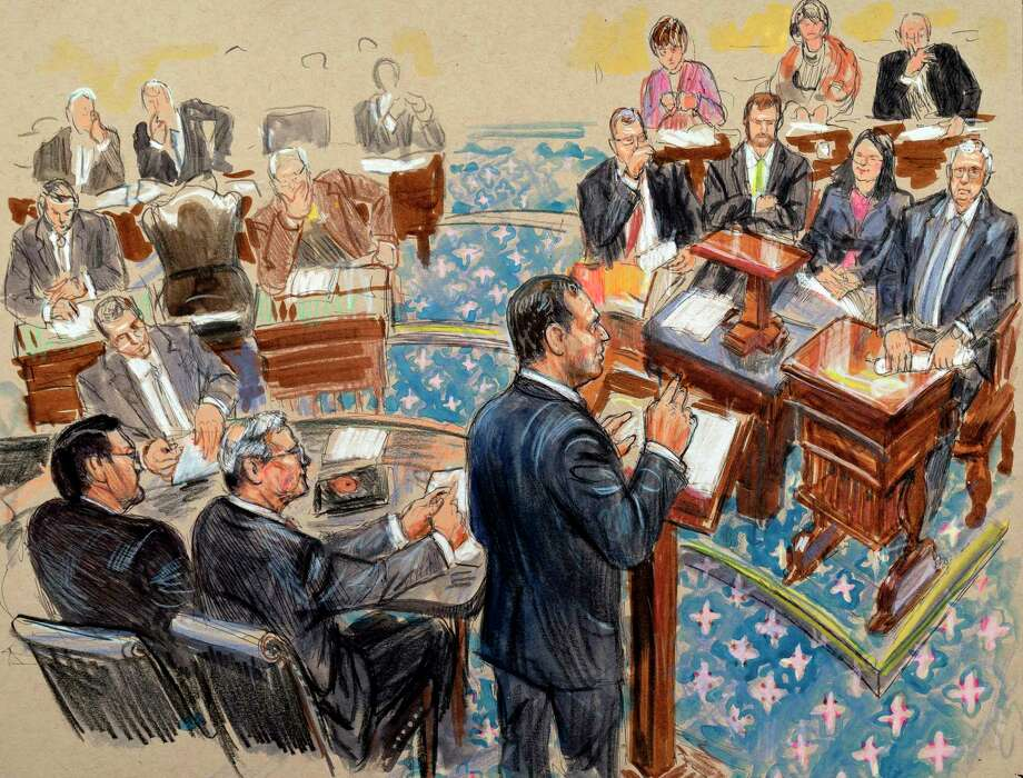 This artist sketch depicts impeachment manager Rep. Adam Schiff, D-Calif., presenting an argument in the impeachment trial of President Donald Trump on charges of abuse of power and obstruction of Congress, Wednesday, Jan. 22, 2020, in the Senate chamber at the Capitol in Washington. At right is Senate Majority Leader Mitch McConnell, R-Ky. Photo: Dana Verkouteren / Associated Press / Copyright 2020 The Associated Press. All rights reserved