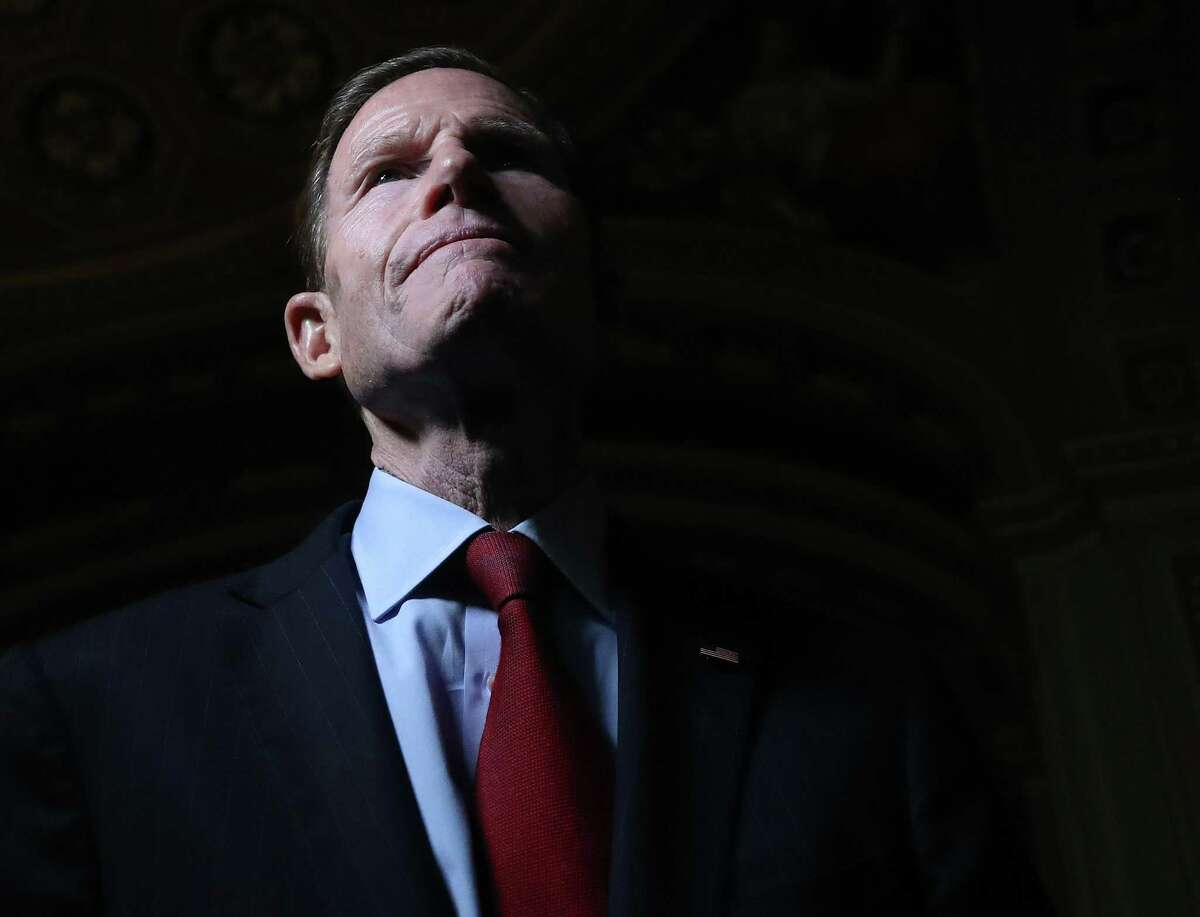 Sen. Richard Blumenthal (D-CT) talks to reporters outside of the Senate Chamber at the U.S. Capitol Jan. 21, 2020 in Washington, D.C. It was day one of the Senate impeachment trial against President Trump.