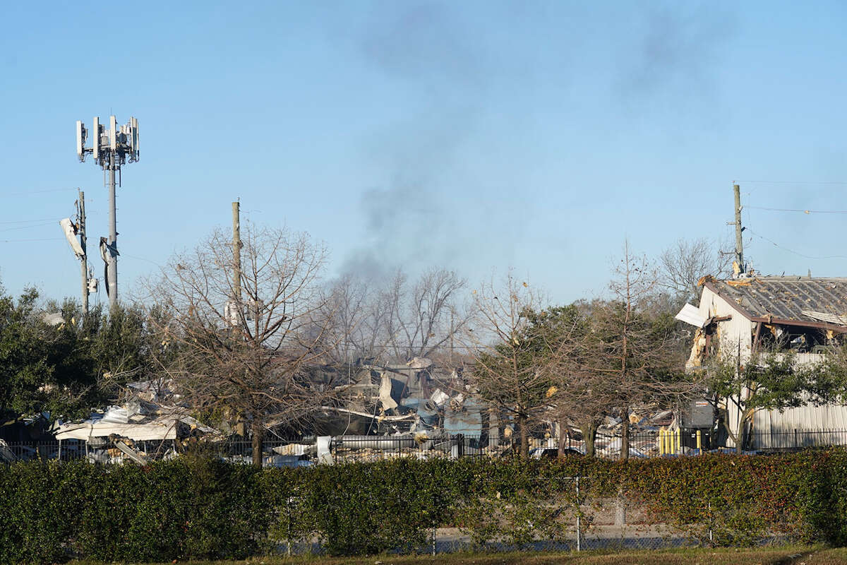 A view of the explosion site located at 4500 Gessner Rd. shown from one street east in the 4500 block of Talina Way January 24, 2020 in Houston.