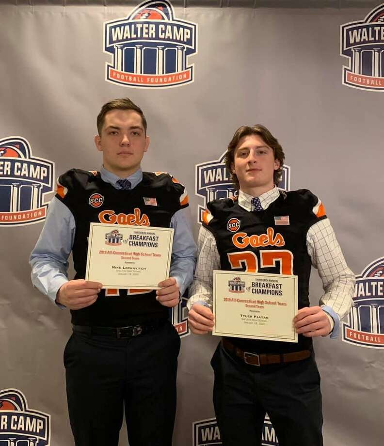 Shelton High football team defensive lineman Michael Lockavitch and defensive back Tyler Pjatak made the Walter Camp All-Connecticut High School second team defense. Photo: Contributed Photo / Connecticut Post