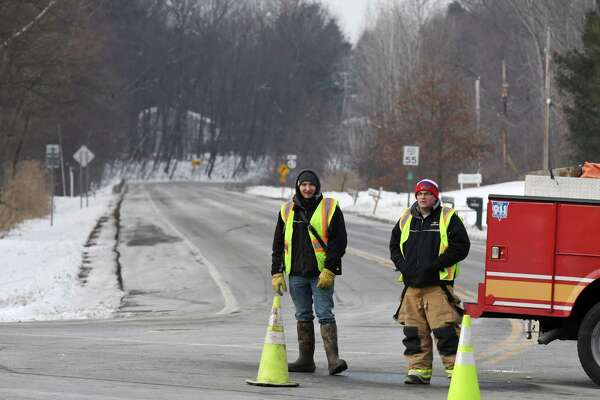 Route 67 at Route 40 is closed as crews respond to a fatal two vehicle crash on Friday, Jan. 24, 2020, in Schaghticoke, N.Y. (Will Waldron/Times Union)