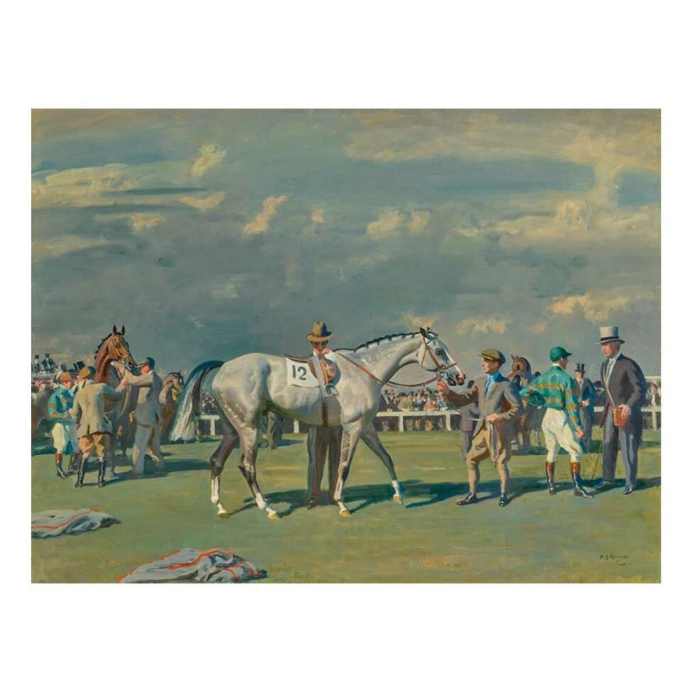 Mahmoud Being Saddled For The Derby, 1936, by Sir Alfred Munnings