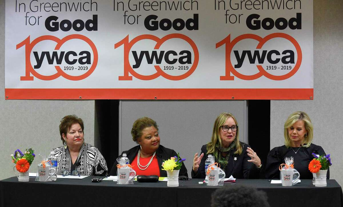 Denise Merrill, Connecticut Secretary of State, second from right, speaks as, from left, Patti Russo, Executive Director, The Campaign School at Yale University, Sheryl Battles, VP, Global Diversity, Inclusion and Engagement, Pitney Bowes, and Greenwich resident Gretchen Carson, American Television Commentator, Journalist and Author listen during a panel discussion at the YWCA Greenwich Women's Power and the Vote at 100, honoring Reverend Dr. Martin Luther King Jr. on Jan. 23, 2020 in Greenwich, Connecticut.