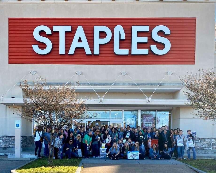 "Teachers at Bear Creek Elementary were treated to a shopping spree after a teacher won Staples' ""Thank a Teacher"" contest. Photo: Courtesy Of Dr. Lorena Zertuche"