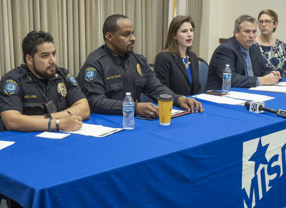 MISD Sgt. Pablo Loya, MISD Chief of Police Arthur Barclay, Elaina Ladd, chief communications officer, Jeff Horner, executive director of Secondary Education and MHS Assistant Principal Misty Ring answer questions 01/24/2020 about the lockdown on Midland High's campus Thursday afternoon. Tim Fischer/Reporter-Telegram Photo: Tim Fischer/Midland Reporter-Telegram
