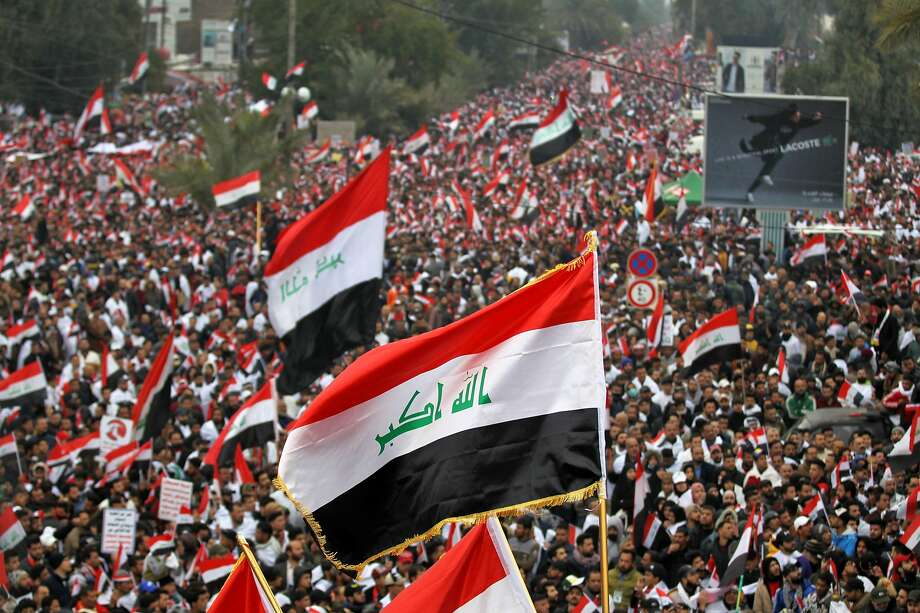 Supporters of Iraqi cleric Muqtada al-Sadr gather in the capital of Baghdad to demand an end to the presence of U.S. forces in their country. There are about 5,200 U.S. troops in Iraq. Photo: Ahmad Al-Rubaye / AFP Via Getty Images