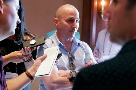 New York Yankees general manager Brian Cashman speaks during a media availability during the Major League Baseball general managers annual meetings, Tuesday, Nov. 12, 2019, in Scottsdale, Ariz. (AP Photo/Matt York)