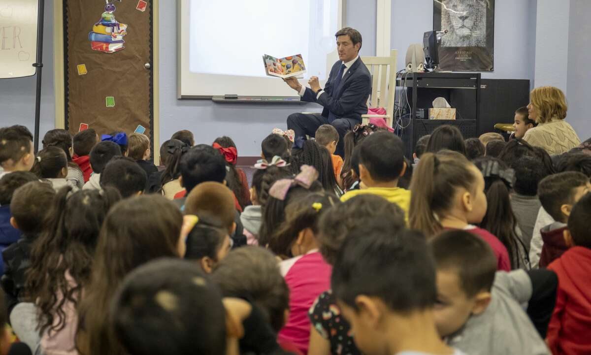 """Students celebrated National Reading Day with story time from Rep. Brooks Landgraf reading """"The Little Engine that Could"""" and a Nursery Rhyme Living Museum on Thursday, Jan. 23, 2020 at Carver Early Education Center."""