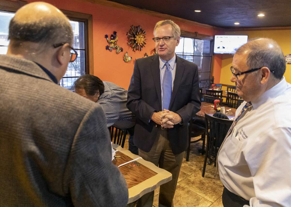 Democrat Jon Mark Hoggs, for congressional district 11, made a campaign stop Thursday at Ajuua?•s Mexican Restaurant. Jacy Lewis/Reporter-Telegram